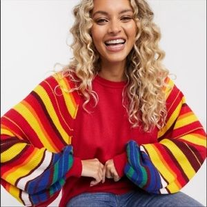 Free People Rainbow Dreams Pullover Knit Top